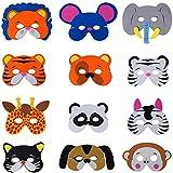 Ouinne 12 Pièces Masques d'animaux en Mousse pour Enfants Anniversaire Fête Faveurs