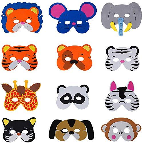 Ouinne 12 Stück Tiermasken, Eva Animal Masks Kindermasken Schaumstoff Masken für Requisiten Dress-Up Party ()