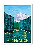 Pacifica Island Art Kanada - Air France - Vintage Retro Fluggesellschaft Reise Plakat Poster von Jean Doré c.1951 - Premium 290gsm Giclée Kunstdruck - 30.5cm x 41cm