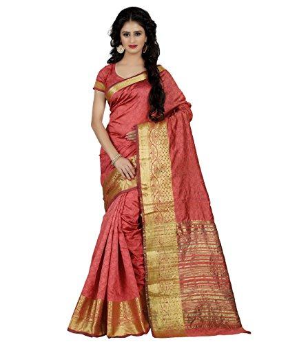 Being Banarasi Women's Jacquard Silk Zari Border Saree With Blouse Piece (Bb_1103_F_Peach)