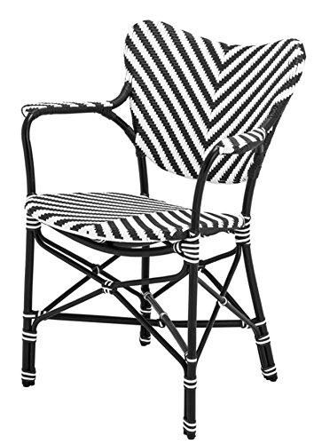 Casa Padrino Designer Gartenstuhl mit Armlehnen schwarz/weiß - Luxus Gartenmöbel