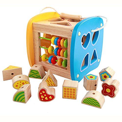 Hölzerne aktivität würfel formen sortierwürfel, Schnürperlen, Xylophon, Abakus, Frühe Entwicklungsspielzeug für Kleinkinder -