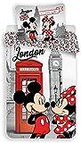 Disney Minnie e Topolino London, parure da Letto, Copripiumino in Cotone