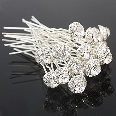 20PCS Clear Crystal Hair Clip Rhinestone Diamante Wedding Bridal Prom Hair Styling Accessories Hair Pins