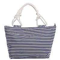 Stripe Holiday Canvas Tote Bag Shoulder Multicolour Navy White Black (large, navy white thin stripe)