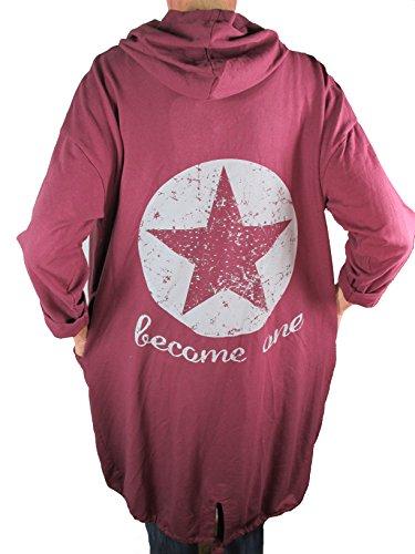 Italy Fashion Sweat Mantel Cardigan Übergangsjacke Strickjacke Stern Star Glitzer Kapuze ( weitere Farben) (Kapuzen Cape Glitzer Rote)