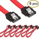 RELPER 6x 46cm SATA 3.0 Kabel 6gb Stecker gerade Rot für SSD/HDD (SATA 46cm red)