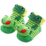 CHOULI Baby Cartoon Socks Toddler Animal No Show Non Slip Anti Skid Slippers Shoes Green Frog
