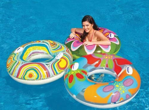 Intex Colourful Printed Swimming Pool Fun Inflatable Floating Transparent Tube by Only Swim