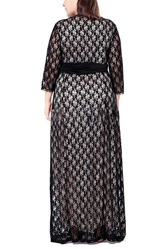 Brinny Mode sexy col V Profond Ajouré Dentelle Femme Robe de mariée de soirée de cérémonie de banquet High waist Oversize Noir / Beige EU 48 - 56 Beige