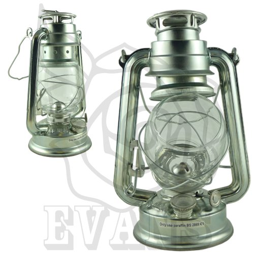 10 SILVER PARAFFIN OIL HURRICANE LAMP - TRADITIONAL LANTERN - LIGHTWEIGHT & DURABLE - FUELED BY SMOKELESS PARAFFIN, KEROSENE OIL, LAMP OIL by Rose Evans