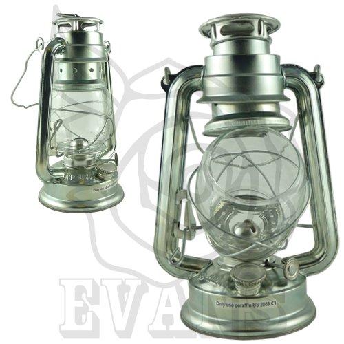 Rose Evans - Lanterna a olio e paraffina in stile tradizionale, leggera e resistente nel tempo, 25 cm, colore: argento, argento, confezione da