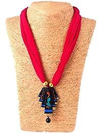 Nisuj Fashion's Terracotta Jewellery Set With Matching Hook Drop Earrings (Pink & Black Combination) Metallic/...