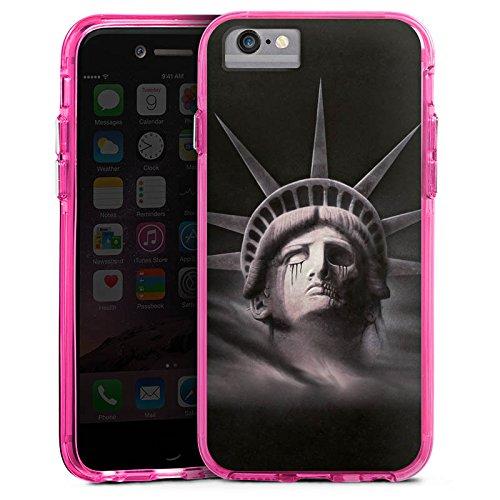 Apple iPhone 6s Plus Bumper Hülle Bumper Case Glitzer Hülle Freiheitsstatue Miss Liberty Black Bumper Case transparent pink