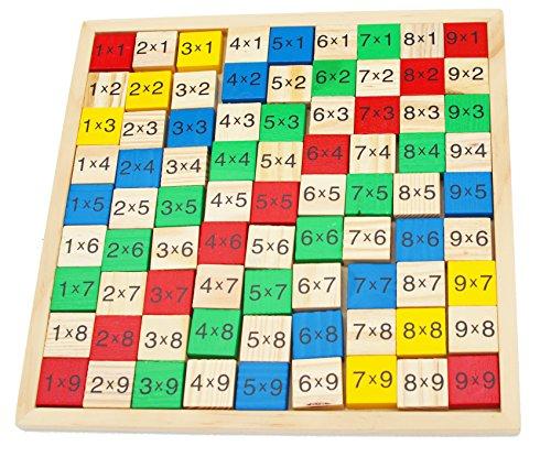 Toys of Wood Oxford Tabla de multiplicación de Madera - Tablero de Juego de matemáticas con números y 91 Bloques de Madera de Colores - Juguete Educativo de matemáticas para niños