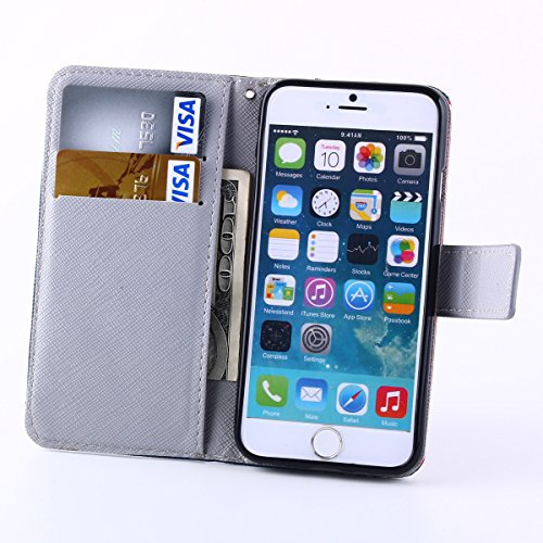 iPhone 6S Hülle,iPhone 6 Hülle,ISAKEN iPhone 6S Hülle Wallet Case ,Handyhülle iPhone 6S / iPhone 6, Bunte Retro Muster Druck Flip PU Leder Tasche Case Hülle im Bookstyle mit Standfunktion Kartenfächer Bunte Graffiti Word