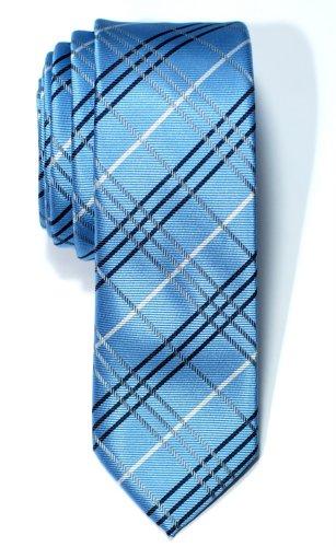 Retreez Herren Schmale Gewebte Krawatte Tartan Plaid Karo Manier 5 cm - blau (Universität 100% Seide)