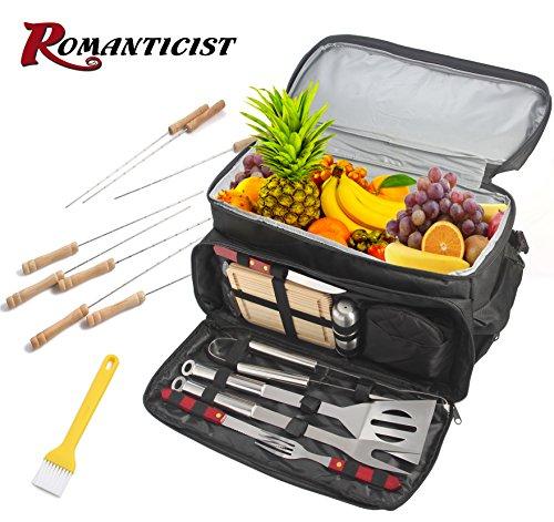Gebaut Grill (ROMANTICIST BBQ Grill-Zubehör-Werkzeug-Set mit 15 können isoliert Kühltasche - 21Pcs Edelstahl Camping Grill-Tools für Outdoor-Touren Tailgating - Geschenk-Kit für Männer)