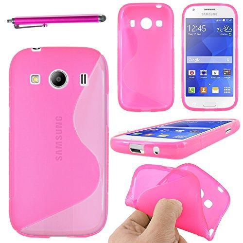 ebestStar - Compatibile Cover Samsung Ace 4 Galaxy SM-G357FZ Custodia Protezione S-Line Design Silicone Gel TPU Morbida e Sottile + Penna, Rosa [Apparecchio: 121.4 x 62.9 x 10.8mm, 4.0'']