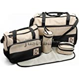 5pcs Baby Nappy BLACK Changing Bags Set