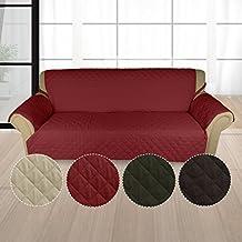 KINLO Sofahusse 3 Sitzer 167x165 Weinrot Sofa überwurf 100% Baumwolle  Füllung Sehr Weich Sofa