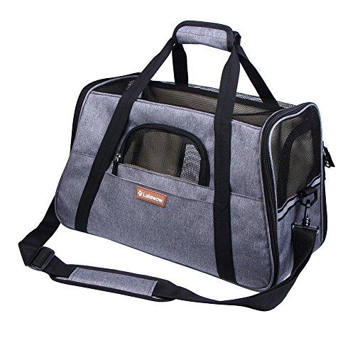 Lalawow Transporttasche für Haustiere Die Fluggesellschaft Genehmigt Weich-Seitig für Kleine Hunde Katzen (Grau)