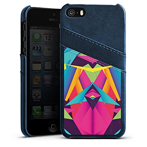 Apple iPhone 5 Housse étui coque protection Couleurs sympas Triangles Triangles Étui en cuir bleu marine