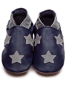 INCH BLUE Baby Jungen Krabbelschuhe Blau Sterne Leder Handgemacht