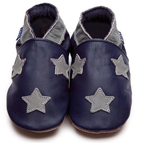 Inch Blue Jungen Schuhe für den Kinderwagen aus luxuriösem Leder - Weiche Sohle - Sternchen Dunkelblau & Grau