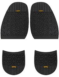 Footful 1 Paire Demi-Semelle Avant-pied + Talons de Chaussures Antidérapant Réparation de Chaussures - Noir