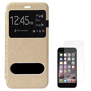 DMG Premium Quality No Back Replace Flip Cover Case For Apple iPhone 6 4.7inch (Golden) + Matte Screen