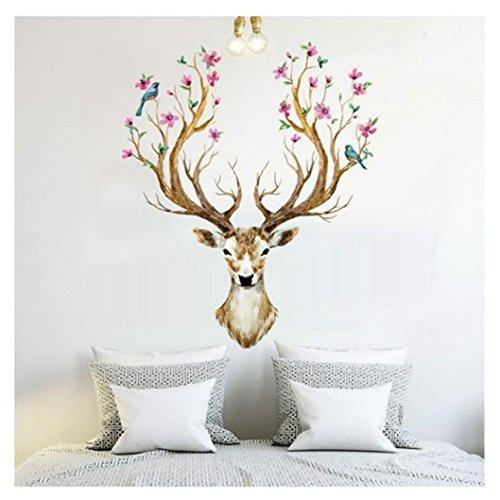 bluestercool-wall-stickers3d-plum-flower-deer-wall-stickers-diy-decoration-pvc-removable-waterproof