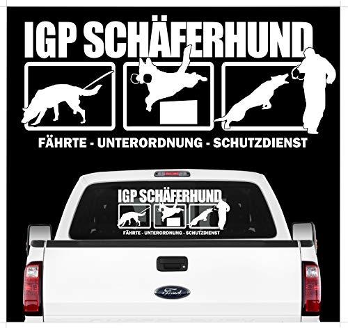 Siviwonder Auto Aufkleber IGP HS Deuscher Schäferhund Autoaufkleber K9 Hundeanhänger ehemals IPO Hundesport Hundemotiv weiß (Vinyl-hundebox)