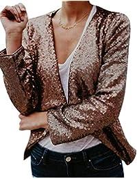bb490265a138 Donna Cappotto Corto Primaverile Autunno Fashion Paillettes Brillantini  Chic Blazer Manica Lunga Slim Fit Vintage Eleganti