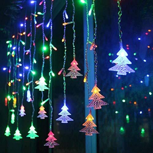 Samtlan Dekorative Lichterkette 3.5M Weihnachten LED Schnur-Vorhang beleuchtet Baum-Eiszapfen-feenhafte Schnur beleuchtet LED Birnen-Ausgangsweihnachtsdekoration (Color : Multicolor)