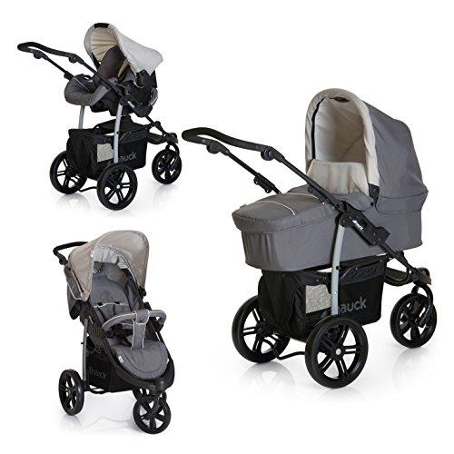 Imagen para Hauck Viper SLX Trio Set - Carro deportivo 3 ruedas, 0 meses hasta 25 kg, silla de auto grupo 0, capazo con colchon, respaldo reclinable, ligero, plegable compacto, manillar ajustable en altura, gris