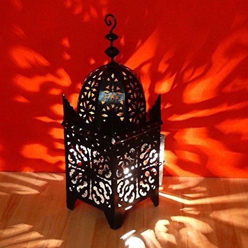 Orientalische Laterne Metall Windlicht Halter Kerze Teelicht Standlaterne Deko Metall Schmiedeisen Windlicht Kerzenhalter Standlaterne Leuchte Carré handgeschmiedet Länge 70 cm