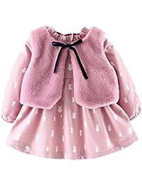 Abrigos Bebé, Xinan Ropa de dibujos animados de bebés recién nacidos Vestido de la princesa caliente + Trajes de chaleco Conjunto de ropa 0-24 Mes