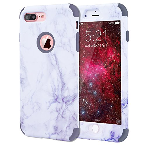 "WE LOVE CASE iPhone 7 Plus / iPhone 8 Plus Hülle Marmor 360-Grad All-inclusive Split Full Protection Anti-Drop iPhone 7 Plus / iPhone 8 Plus 5,5"" Hülle Rose Gold Schutzhülle Handyhülle Handytasche Han gray"