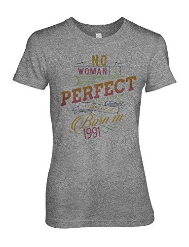No Woman Is Perfect Except Those Born In 1991 Geburtstag Damen T-Shirt Grau