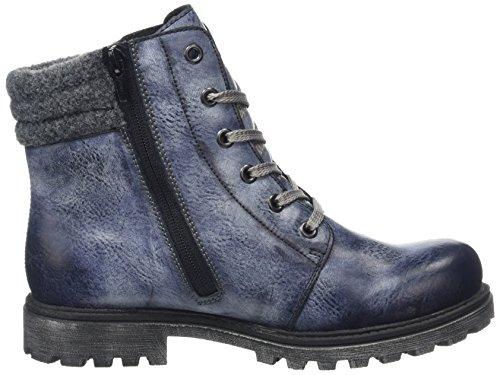 Rieker K7472, Bottes Rangers Fille Bleu (Jeans/Altsilber/Granit/14)