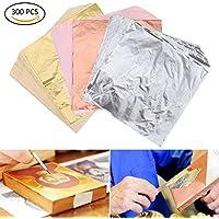 tankerstreet 300paquetes Pan de Plata de imitación de oro hojas, hojas de oro rosa para arte manualidades decoración y muebles 14x 14cm (5,5x 5,5pulgadas)