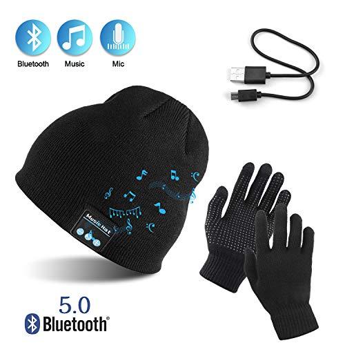TAGVO Gorro Bluetooth V5.0 Conjunto Guantes Pantalla