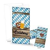 10 Stück bayerisch blau-weiß kariert EINLADUNG Klapp-karte Oktoberfest Einladungskarte BAYERN Hochzeit Geburtstag Bierfest Firmen Kunden MIT KUVERT DIN lang