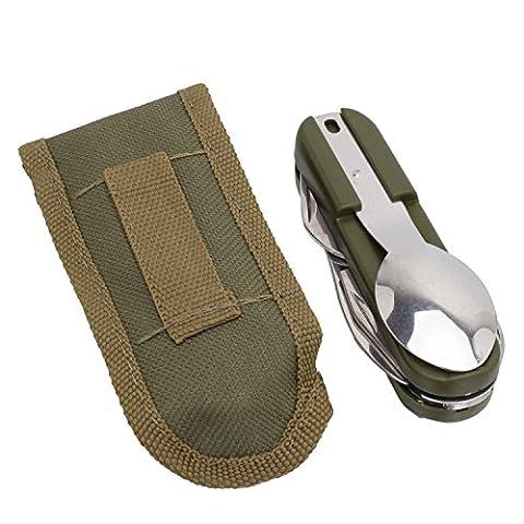Pinzhi - Couvert Pliable Assembler Couteau Fourchette Cuillère pour Extérieur Camping Randonnée