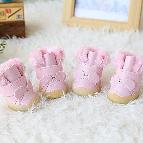 XiYunHan Pet Sneakers, Leder Skid Boot Baumwolle Winter Warm Oxford Boots Klettverschluss 4 Stück Dog Boots 4 Farbe 5 Größe (Color : Pink, Size : 1#)