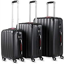 Monzana® 3tlg. Kofferset Baseline   M-L-XL   Gel-Griffe   Kantenschutz   Schloss   Trolley Hartschalen Koffer Reisekoffer Set