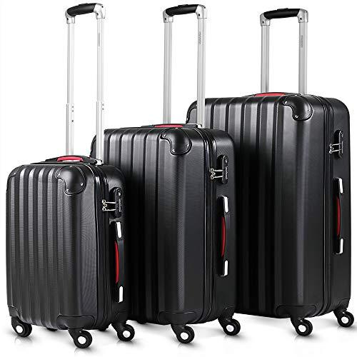 Monzana 3tlg. Kofferset Baseline | M-L-XL | Gel-Griffe | Kantenschutz | Schloss | Trolley Hartschalen Koffer Reisekoffer Set