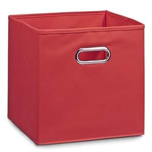 Zeller 14137 Boite de rangement en tissu, rouge, 28 x 28 x 28 cm
