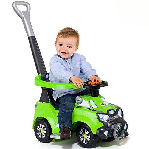 Rutscher mit Stange, elektrische Hupe, aufklappbarer Sitz, Abschleppseil – Rutschauto Schubstange Fahrzeug Kinderwagen Auto Lauflernwagen 3 in 1